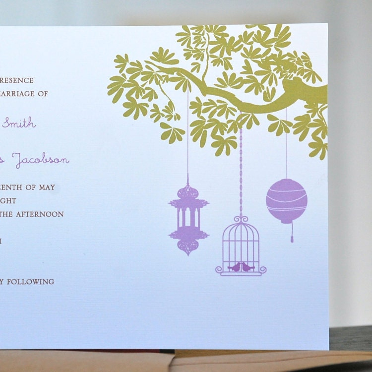 Lantern Love Birds Wedding Invitations From sweetbellacards