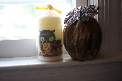 Vintage Owl Candle