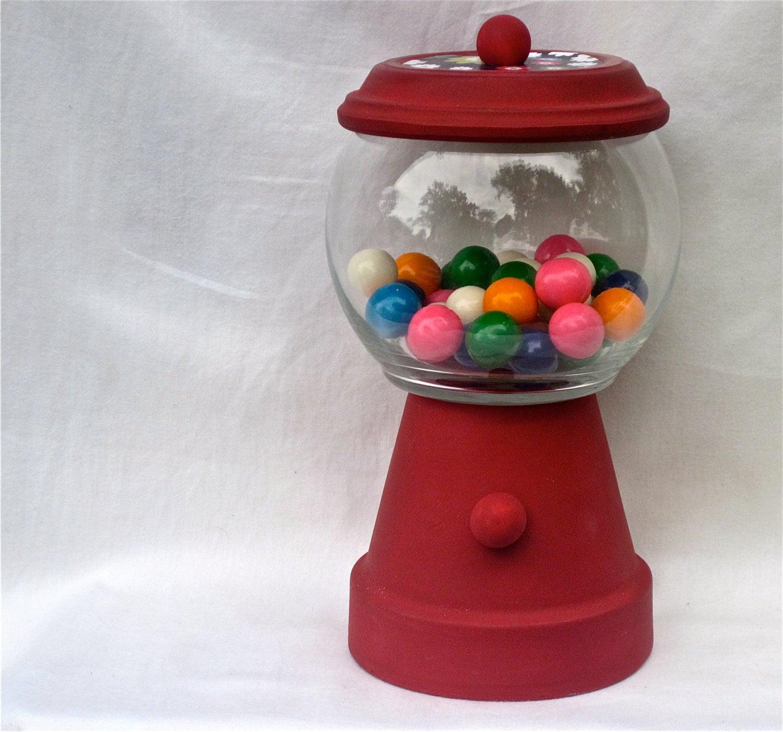 Gumball Machine Candy Jar Terra Cotta Red - CasstheCrafter