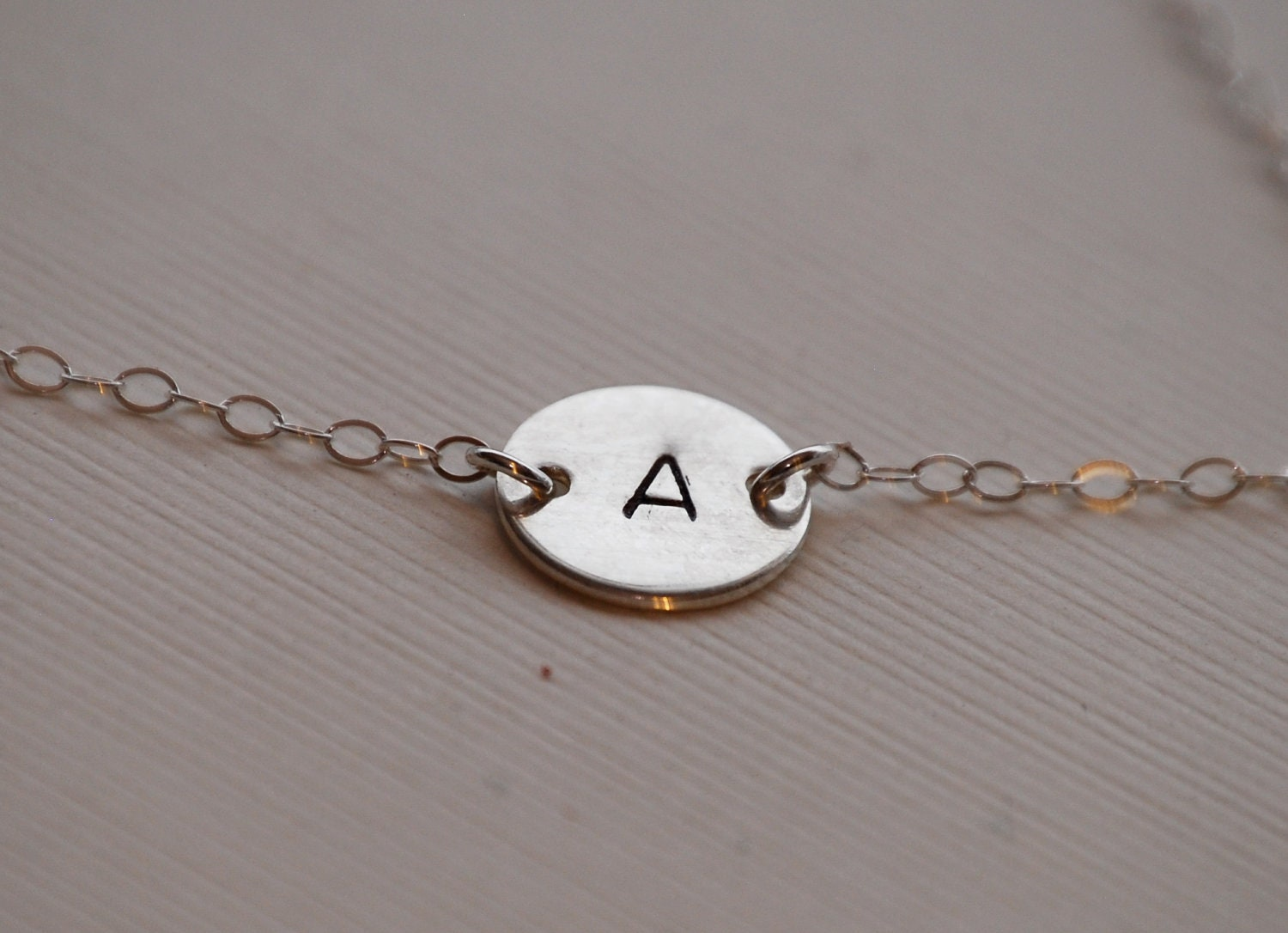Sterling silver initial necklace, initial necklace, personalized jewelry, simple jewelry, dainty jewelry, hand stamped, gift