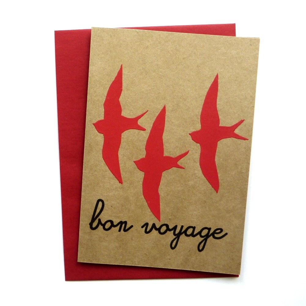 Card - Bon Voyage - Hand screen printed card - linneaswedishdesign
