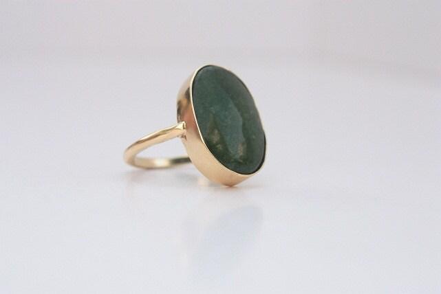 Green Gemstone ring - Gold ring - Bezel ring - Green emerald - size 4 5 6 7 8 9 - Silver - Handmade - PleiadesJewel