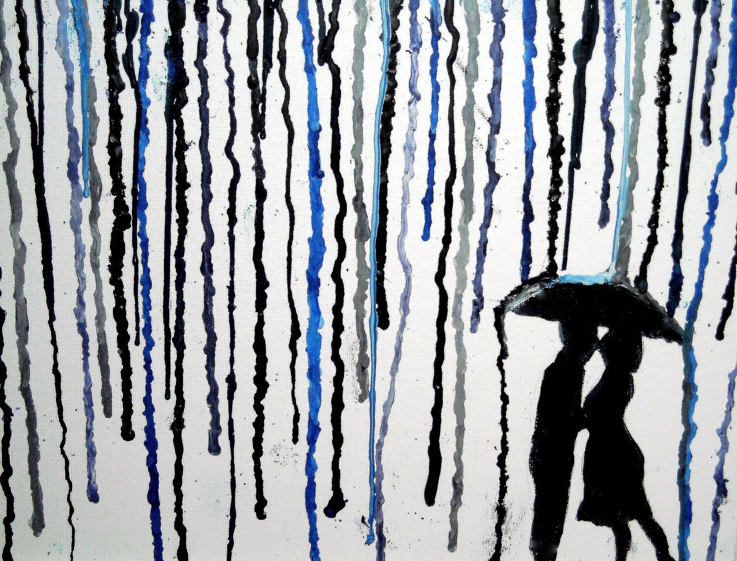Couple Kissing Under Umbrella Silhouette Crayon Art Drippng crayon    Couple Silhouette Umbrella Crayon Art
