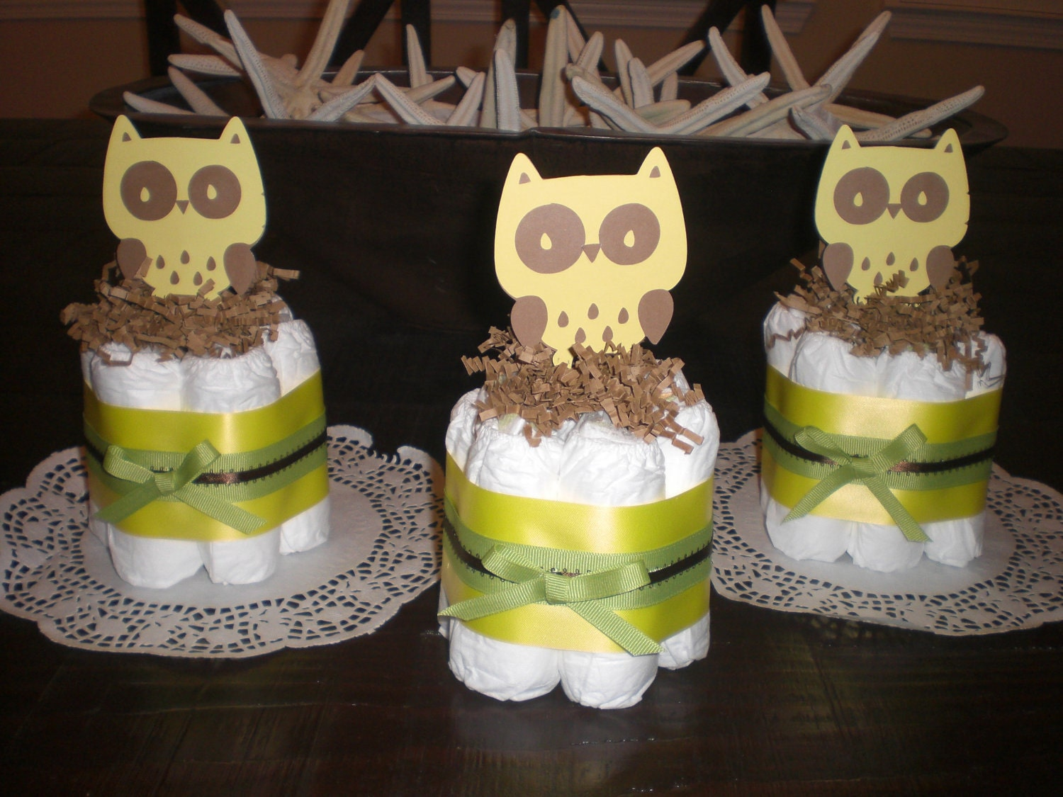 hoot owl mini diaper cakes baby shower by bearbottomdiapercakes