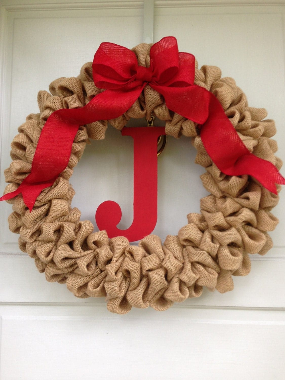 Light Brown Burlap Valentines Day Wreath with Monogram and Red Burlap ...