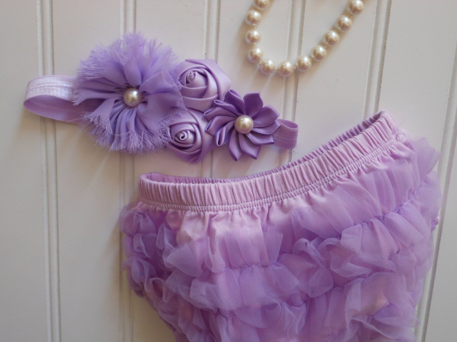 Bloomer Set-Lovely in Lavender Pearl Head Band with Matching Lavender Chiffon Ruffle Bloomers-Baby Shower Gift - TheRuffledbum