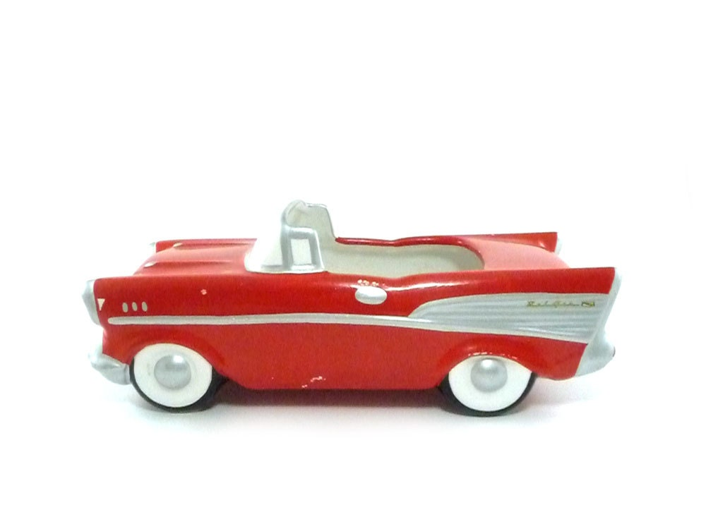 Vintage Car Planter 1957 Chevy Convertible By Reconstitutions