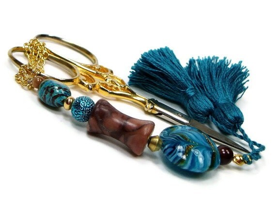 Scissor Fob Beaded Sewing Cross Stitch Quilting Needlepoint Teal Blue Cocoa Brown - TJBdesigns