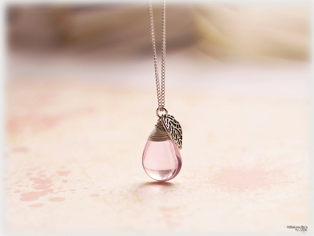 Pink glass necklace long wire wrapped silver leaf large tear drop briolette bridesmaid gift romantic womens jewelry - MacKenziesAttic