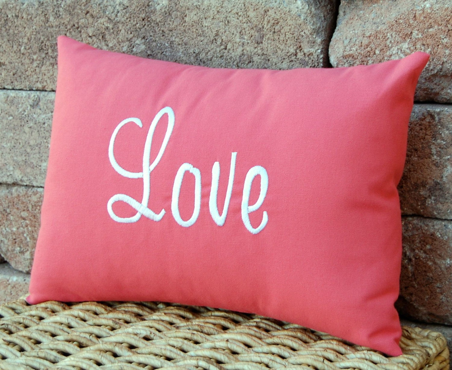 Valentines Day Personalized Gift Decor Coral Pillow Love Monogrammed Gift Decorative Throw Pillow 12 x 16 - FestiveHomeDecor