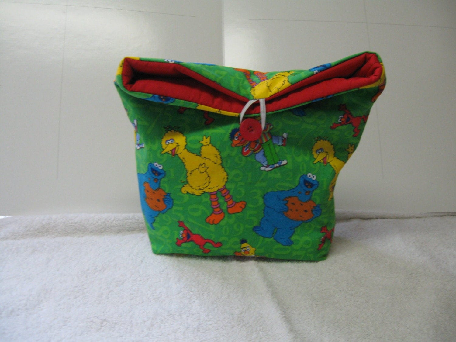 Go Green Insulated Sesame Street Print Lunchbag with Red inside All Cotton Reusable lunchbag or lunch sack