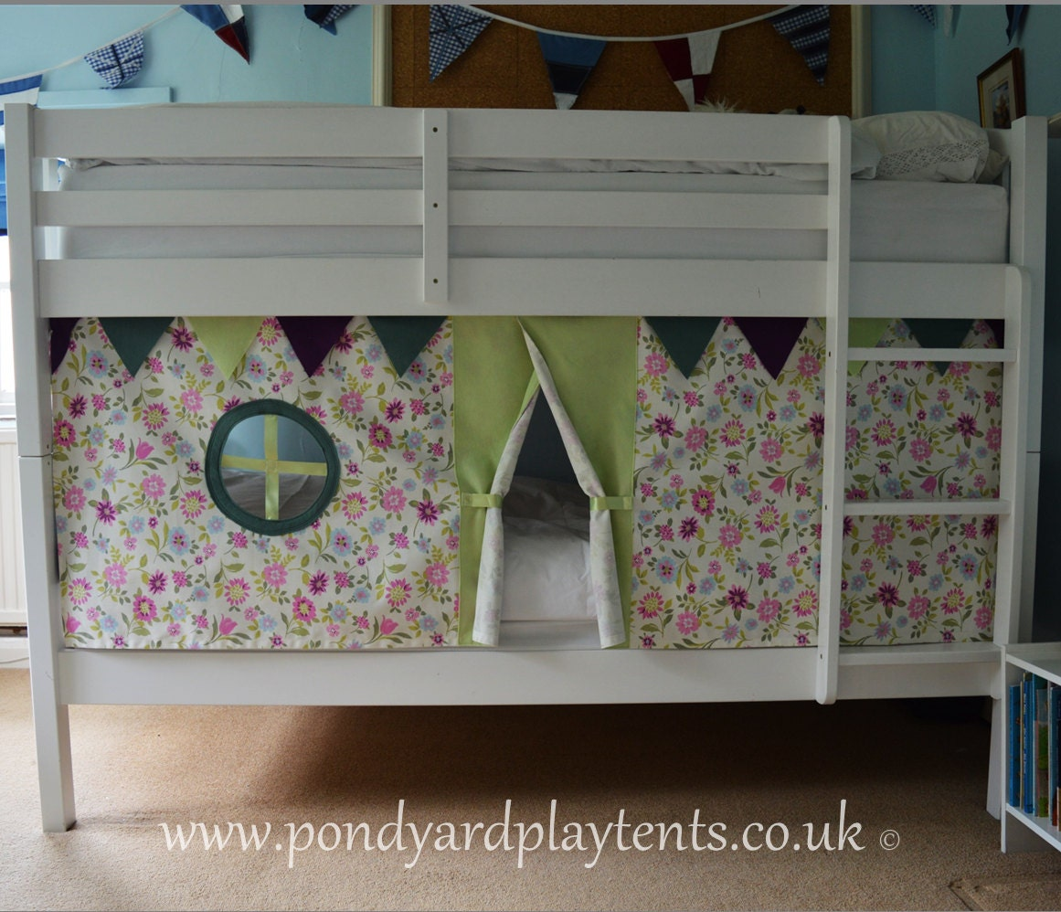 Wildflower bunk bed tent. Create a secret hideaway to inspire creative play. Free shipping to UK! Handmade to order. Standard size