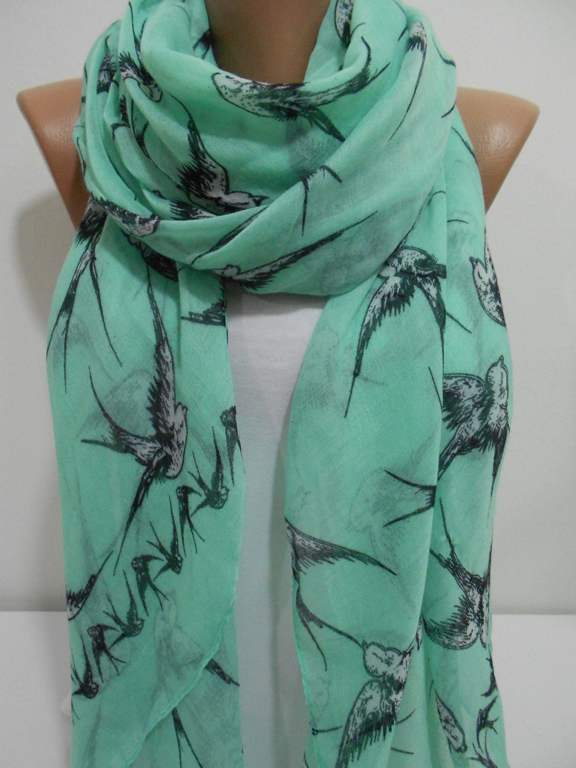 Bird Print Scarf Shawl, Mint Green Cowl Scarf, Swallow Long Scarf, Oversize Scarf, Lightweight Cotton Scarf, Gifth For Her, MiracleShine - MiracleShine