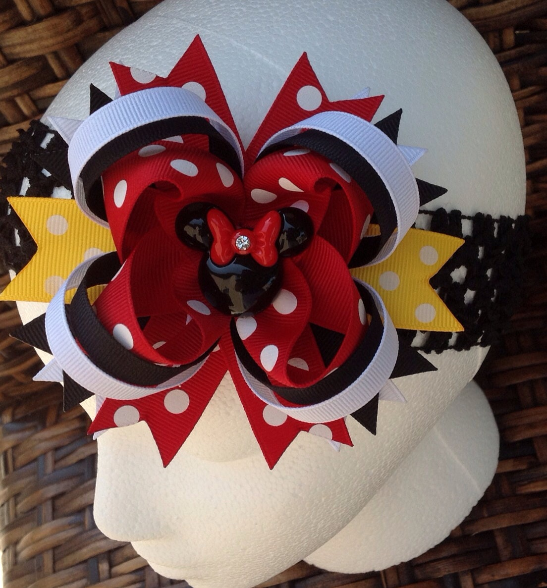 ... Boutique Style Hair Bow - Disney Hair Bow - Minnie Mouse Bow - on Etsy