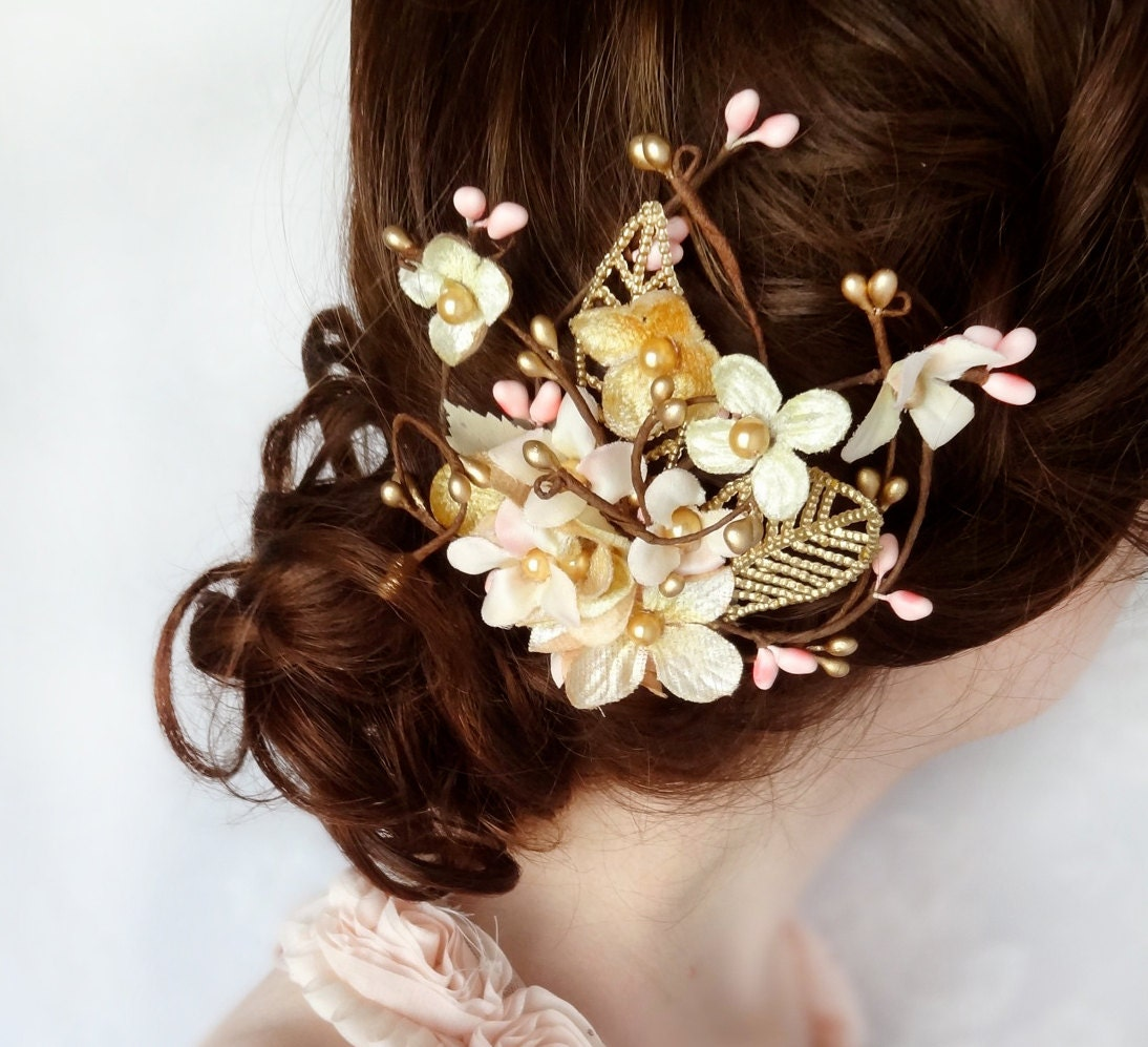 bridal hair accessories, gold flower hairpiece, pink floral hair