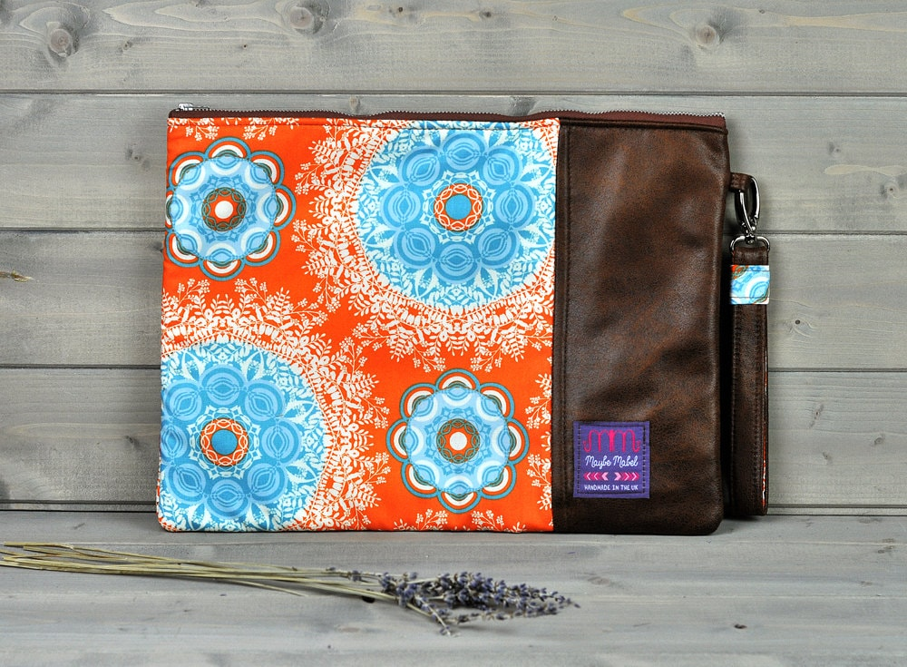 Padded Brown Leather Laptop Sleeve Laptop Case Laptop Bag Skin 11 13 15 inch Macbook Air Pro Retina HP Pavillion Dell Acer Orange Mandala