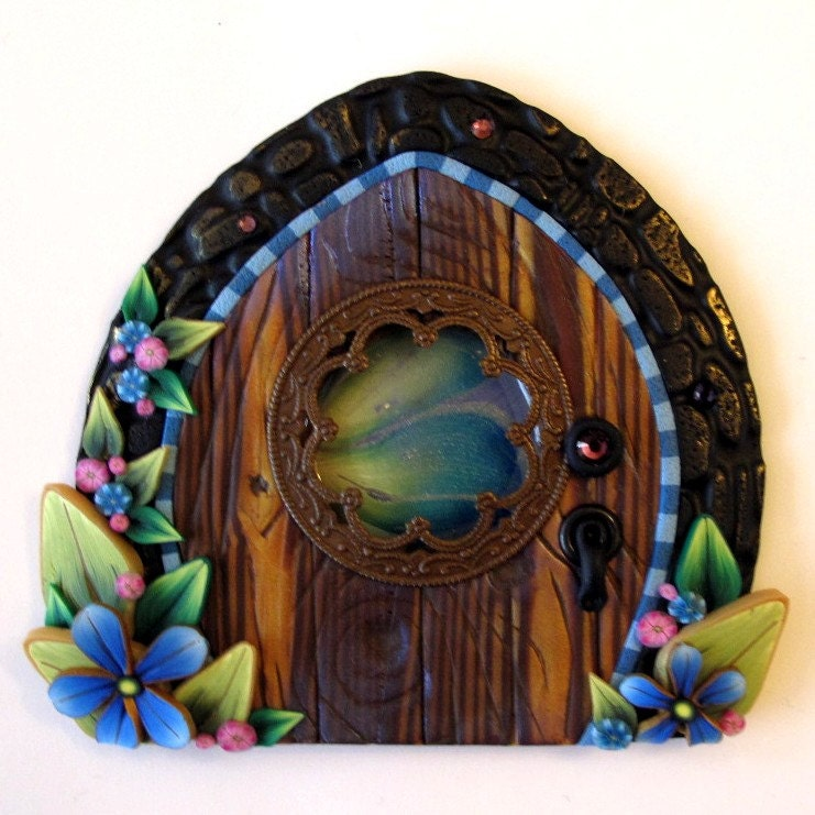 Window fairy door kids wall art home decor by claybykim on for Fairy door for wall