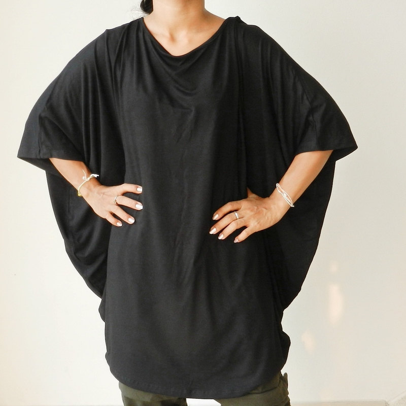 Ladies Blouse in Black,Unique Styling Poncho Plus size,Organic Cotton Jersey Knit