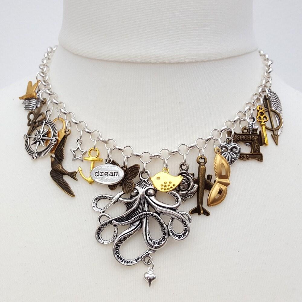 Statement charm necklace  silver brass bronze gold  octopus anchor compass travel key bird sewing machine