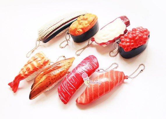 Rare Fish Squishy : Rare Cafe De N Squishy Sushi Charm by UberTiny on Etsy