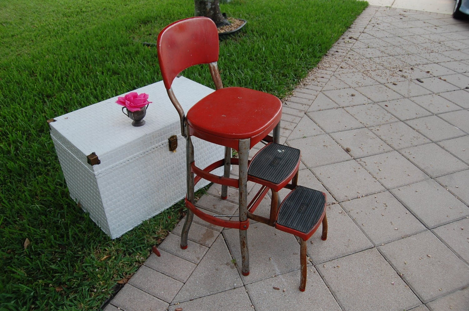 Vintage Chippy Red Cosco Step Stool Chair By Retrodaisygirl