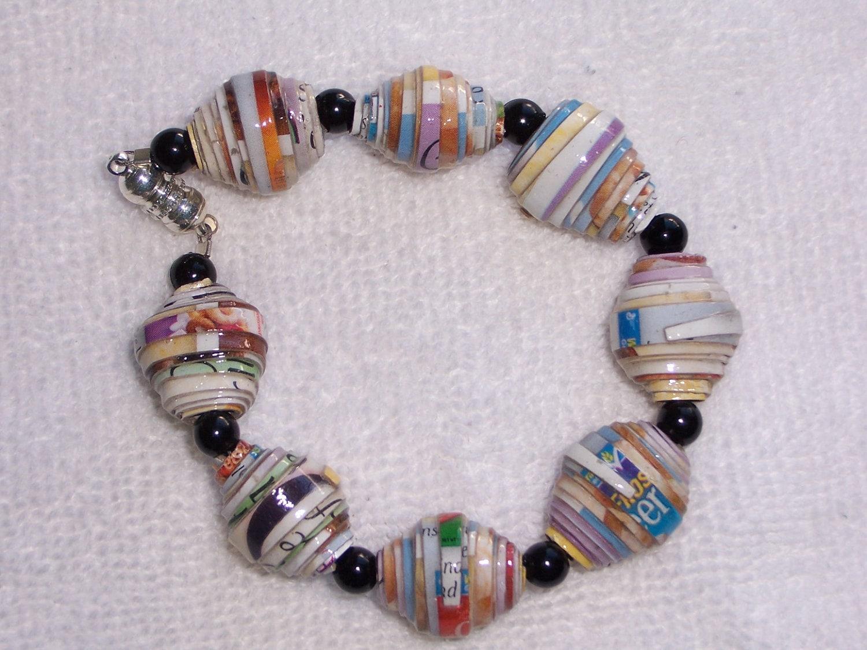 Paper Bead Bracelet  Pastel