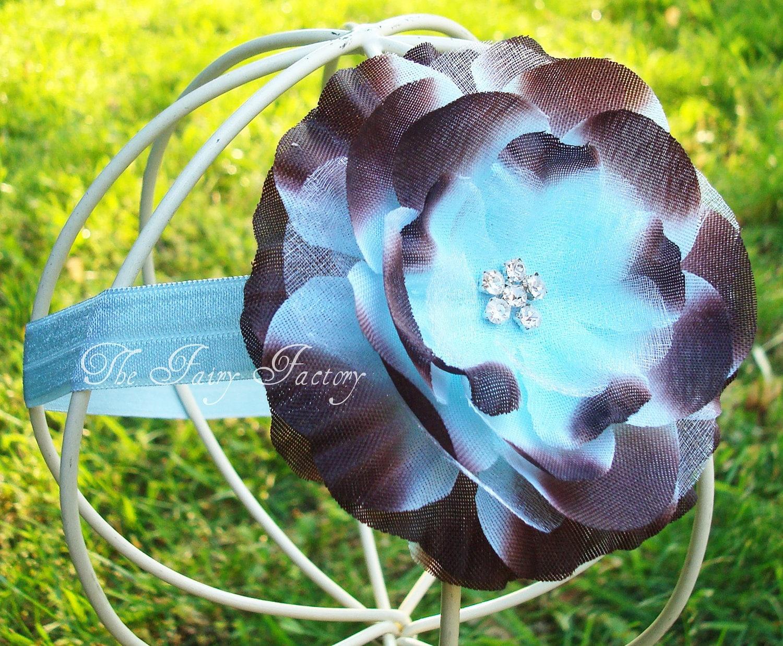 Шоколад Браун и Baby Blue Rhinestone шелк и органза Раффлед головная повязка из цветов или зажим для волос - Mia - Купить 4 Mias получи 1 бесплатно