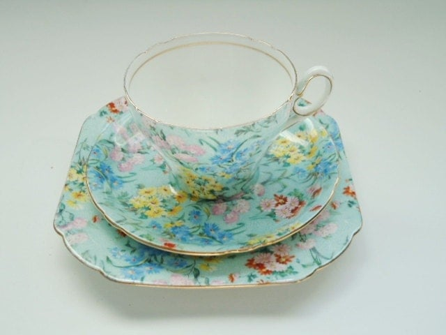 RESERVED LISTING Vintage Shelley China Melody Chintz Trio Tea Cup Teacup Saucer Plate