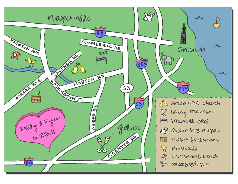 Custom Wedding Map - Hand Drawn, Color