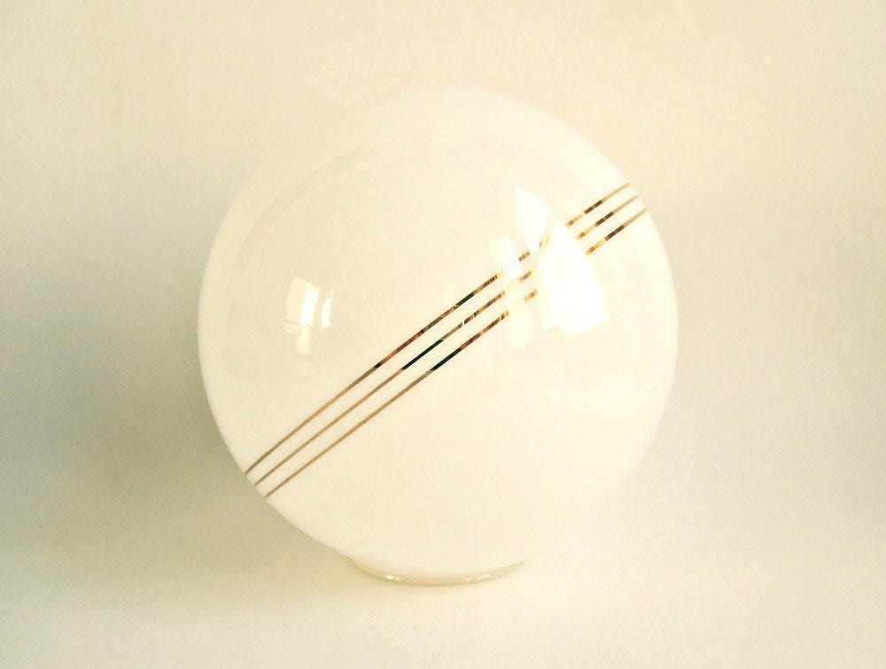 Vintage Glass Globe Shade  Art Deco opaque white with gold banding Saturn planet smaller size 5.5 inches for 2.5 gallery lamp replacement