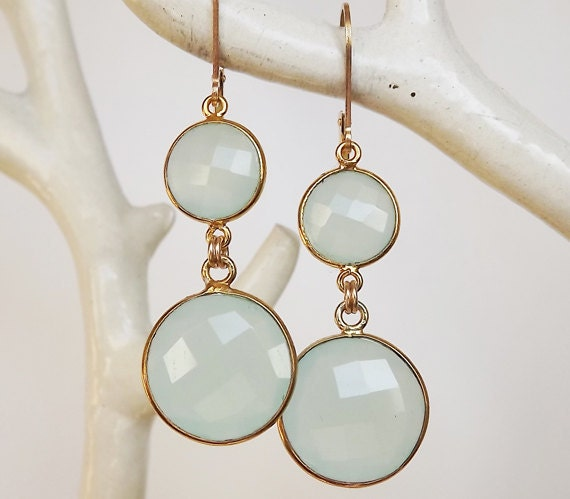 Bezel Set Aqua Chalcedony Double Gemstone Earrings - Gold Filled Gemstone Earrings - Bezeled Earrings - Bridal Earrings