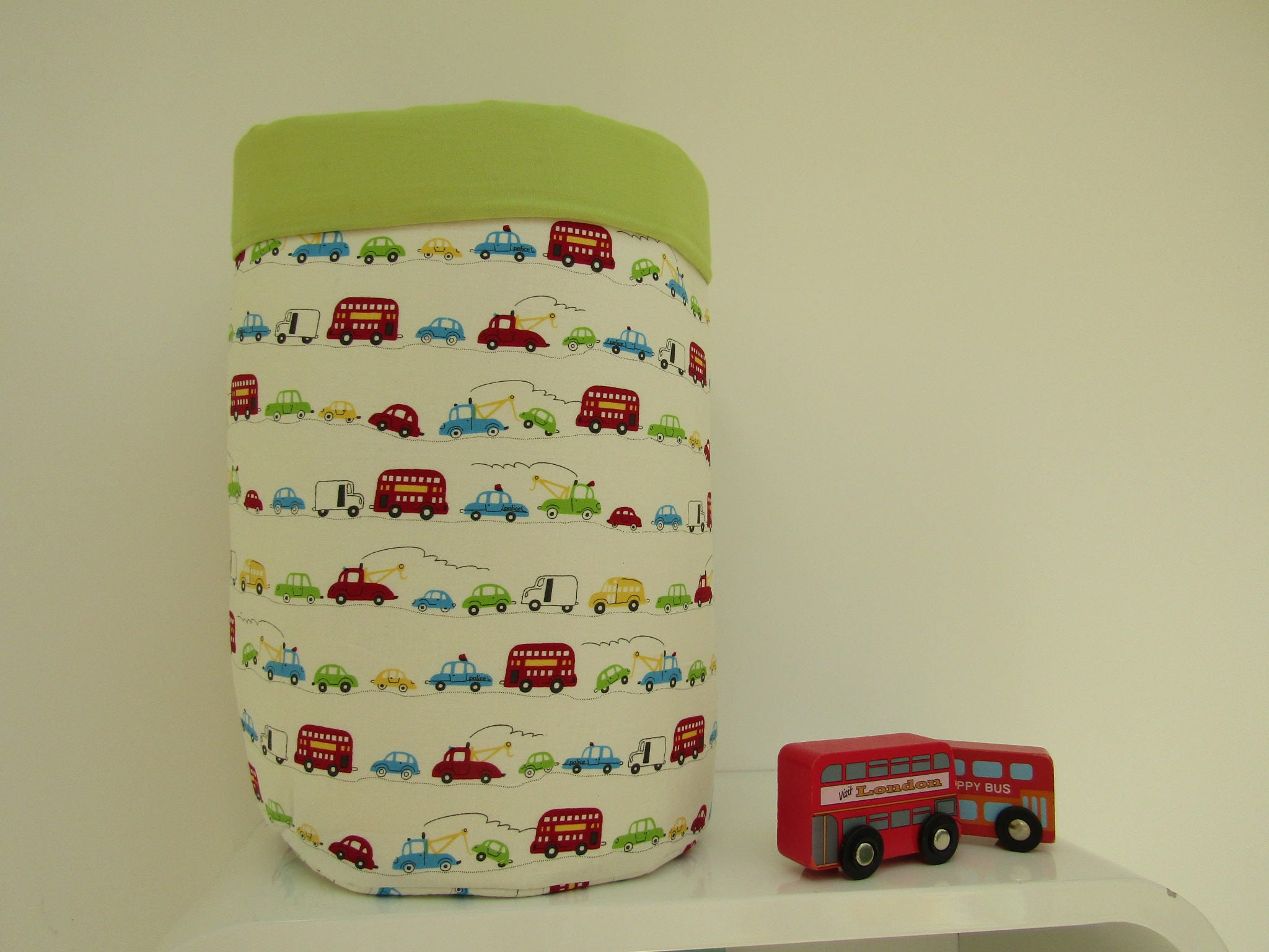 Fabric storage bucket fabric toy storage baby changing bucket new baby gift vehicles print london bus print