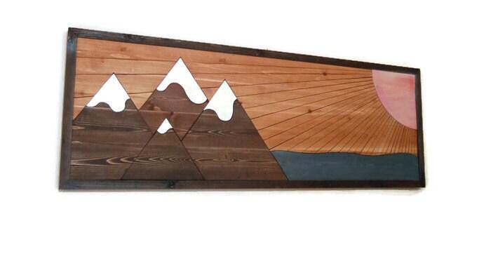 Sunset Wall Panoramic Wall Art Wood Headboard Rustic Wall Art