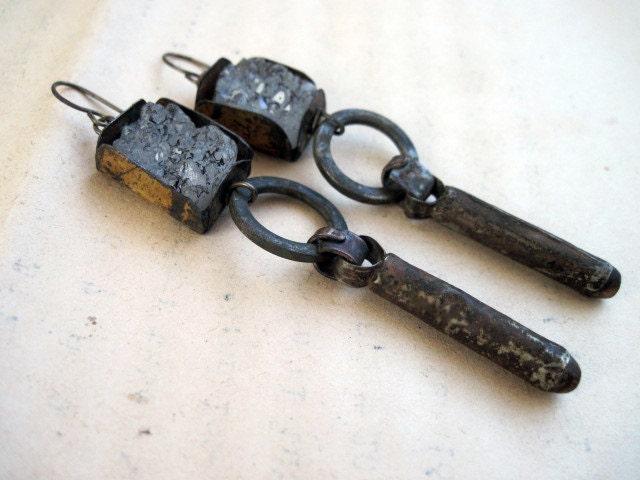 Crepuscle. Rustic Gypsy Druzy and Tribal Talisman Earrings.