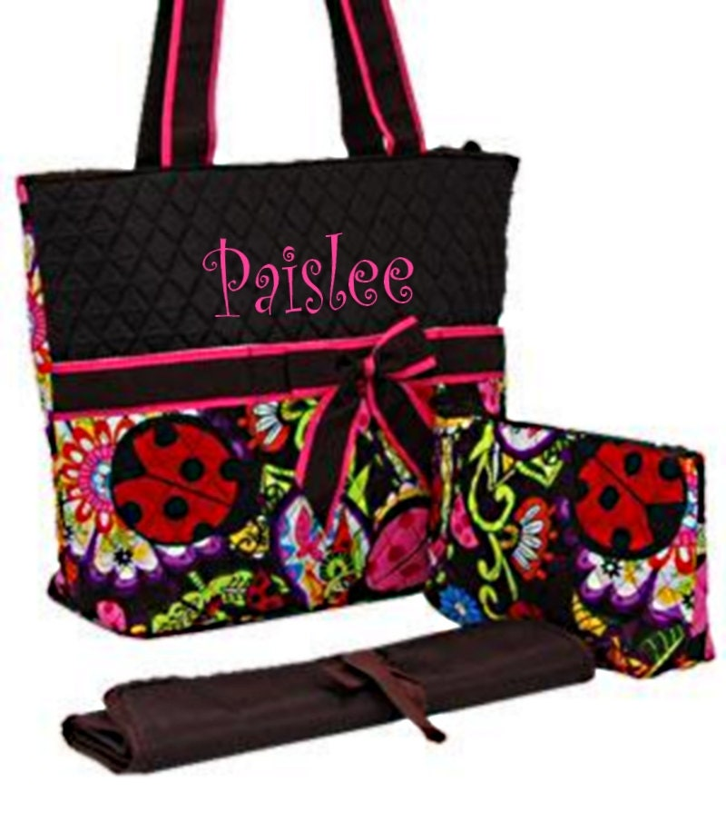 personalized lady bug print diaper bag set by mauricemonograms. Black Bedroom Furniture Sets. Home Design Ideas