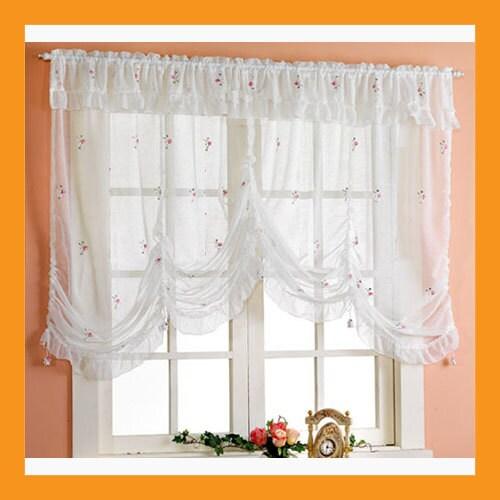 Items similar to embroidered balloon shade sheer valance curtain window treatment kitchen - Waverly kitchen curtains ...