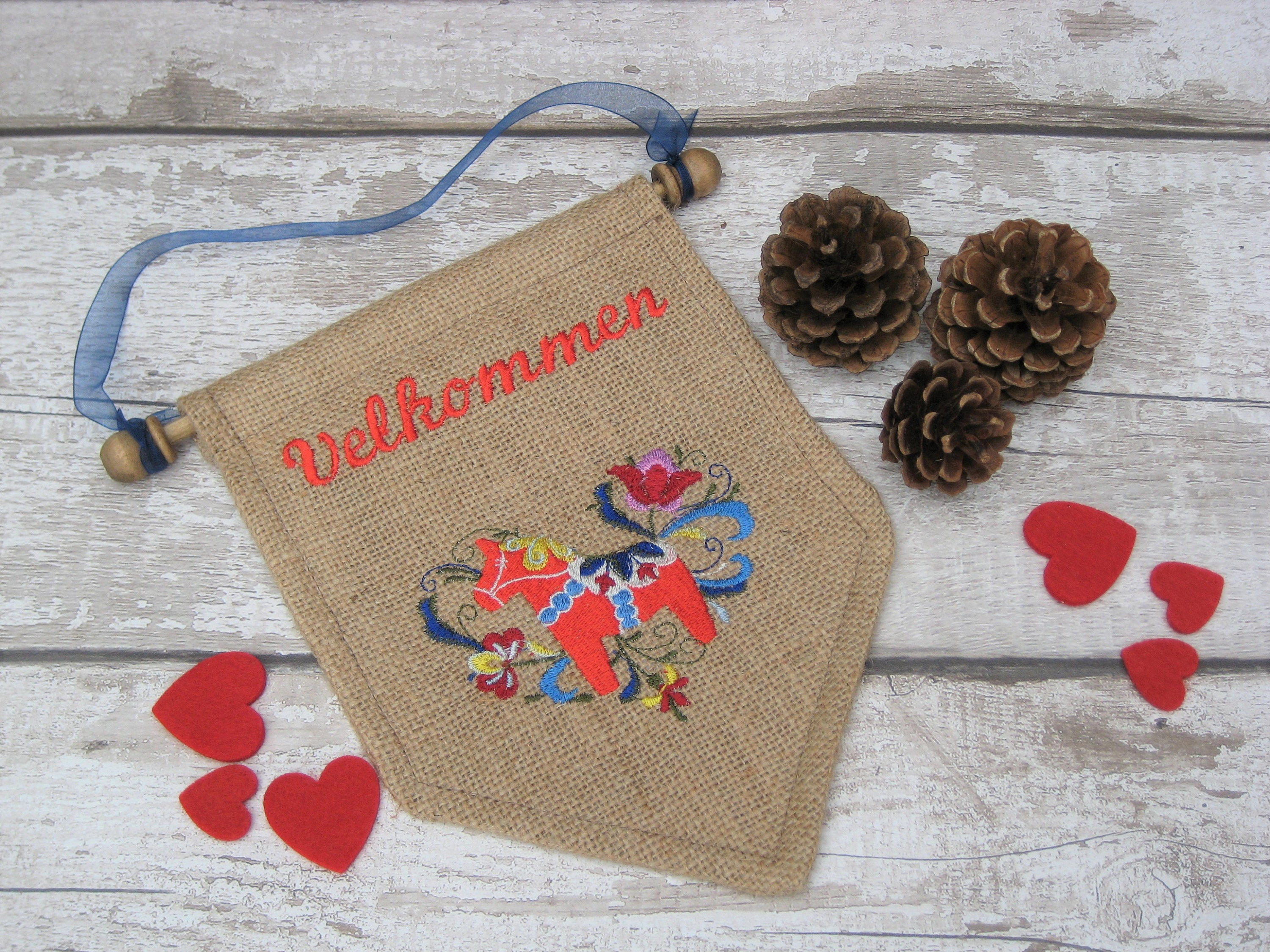 Norwegian or Danish Dala Horse  Welcome  Velkommen Wall Hanging  Sign  Housewarming Gift Present. Norway  Denmark  Wedding Party Home
