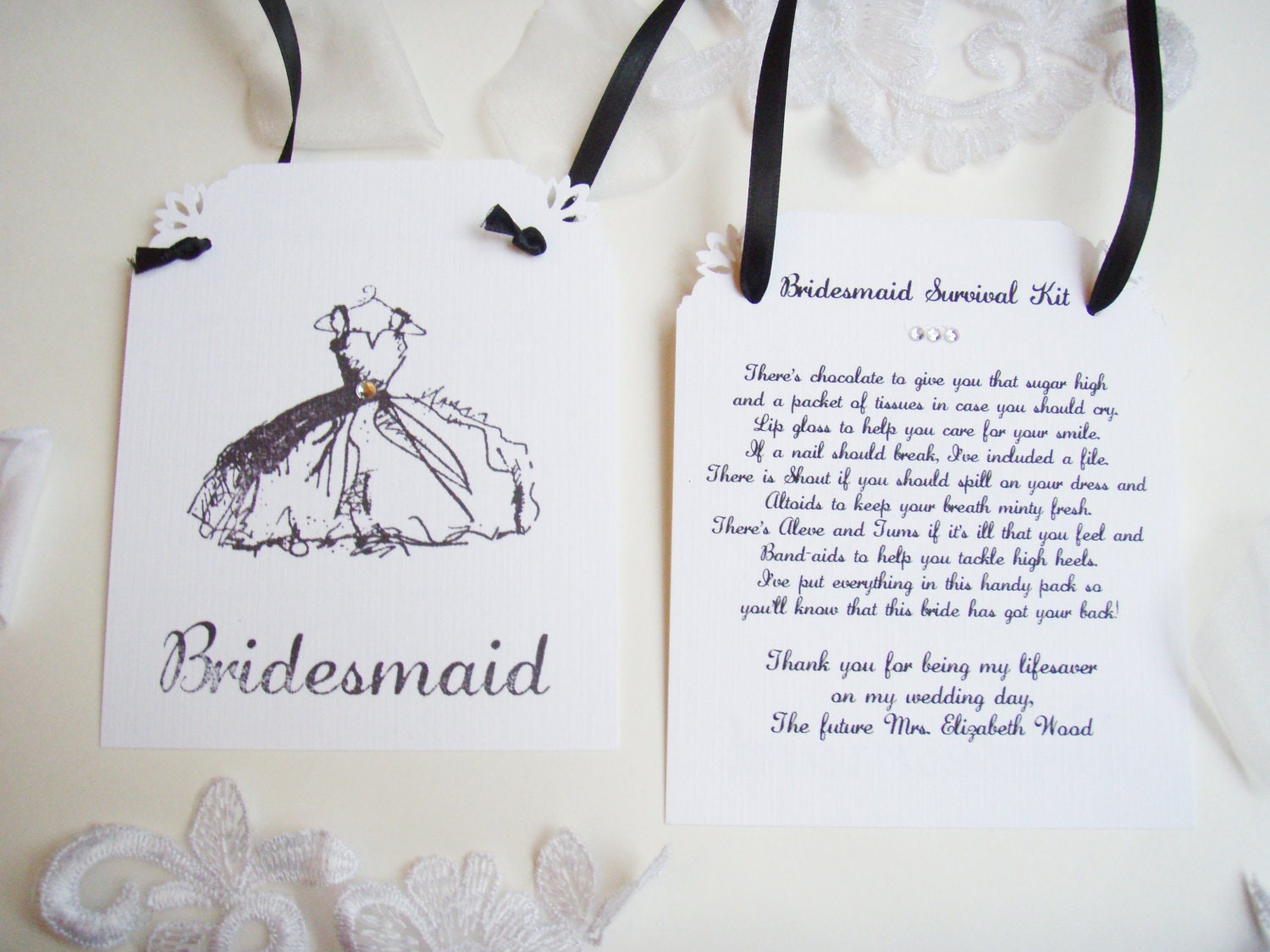 Bridal Party Survival Kit Tags Thank You By ScenicWoodsPaperie