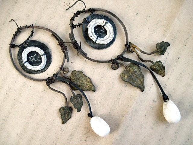 Self-thinking. Rustic Victorian Tribal Earring Assemblage with Golden Foil.