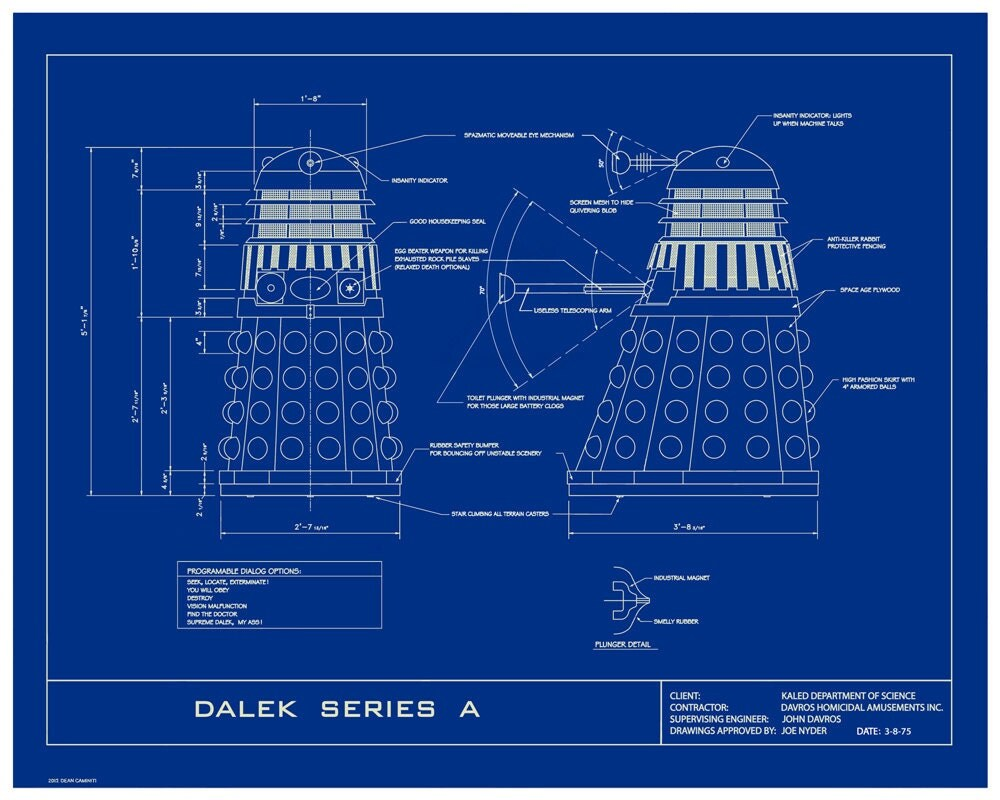 Dr Who Dalek Humorous 16x20 Limited Edition By Dbartist