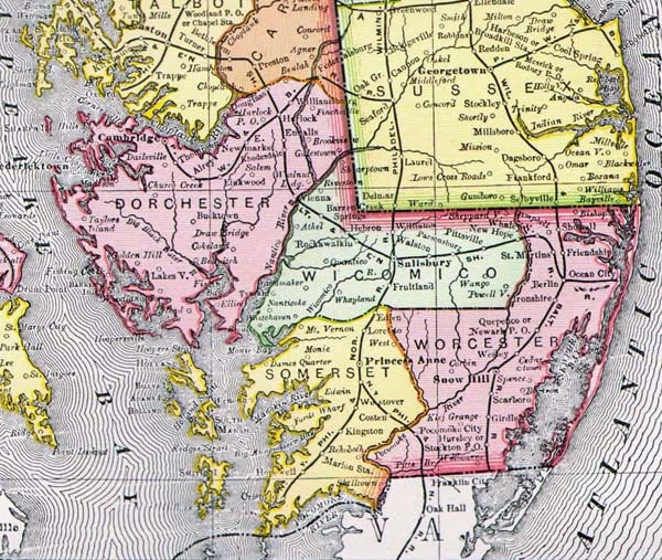 Maryland Amp Delaware Map United States USA 1896 By