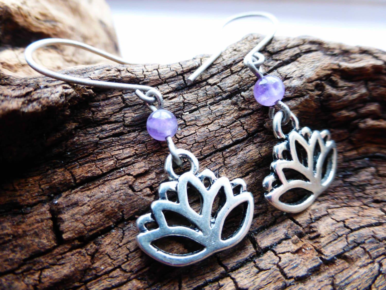 Purple Lotus Flower  Zen Yoga Earrings  Amethyst Gemstone Charm Earrings  Hypoallergenic Titanium Ear Wires
