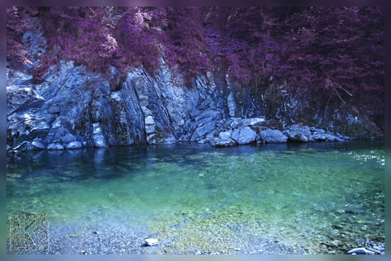 Purple dream on the river - Signed photo 4 X 6 - water reflection fantasy rocks blue green cyan lilac violet romantic love - krystarka