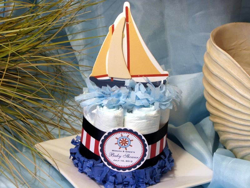 sailboat nautical boat mini diaper cake by shadow090109 on etsy