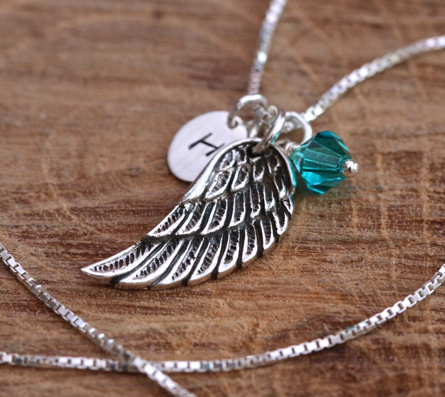 Large Sterling Silver Personalised 3D Angel Wing Necklace with Birthstone Swarovski Crystal and Impressed Tag Birthday Gift with Box