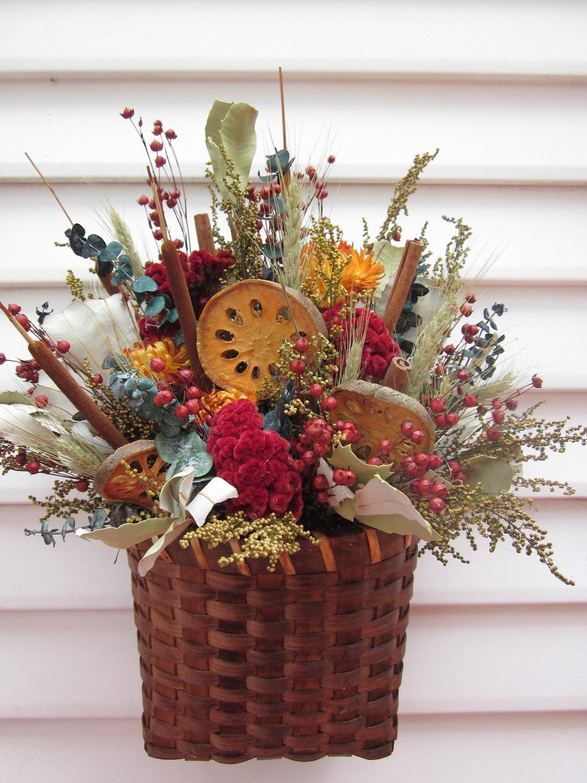 Wall decor basket dried flower arrangement with by for Wall decor arrangements
