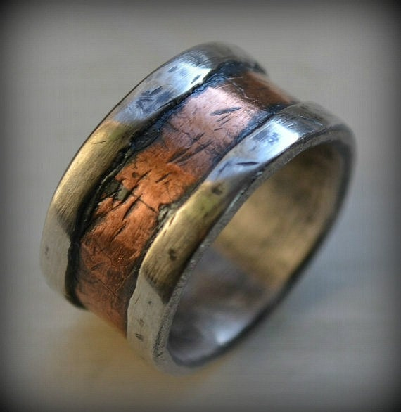 Mens Wedding Band Rustic Fine Silver And Copper By