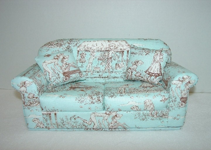Toile Doll Sofa Light Blue Brown Barbie By Majeanscreation