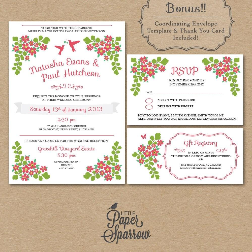 Template For Wedding Gift Registry : Wedding Stationery Pack- Wedding Invitation, RSVP Card, Gift Registry ...