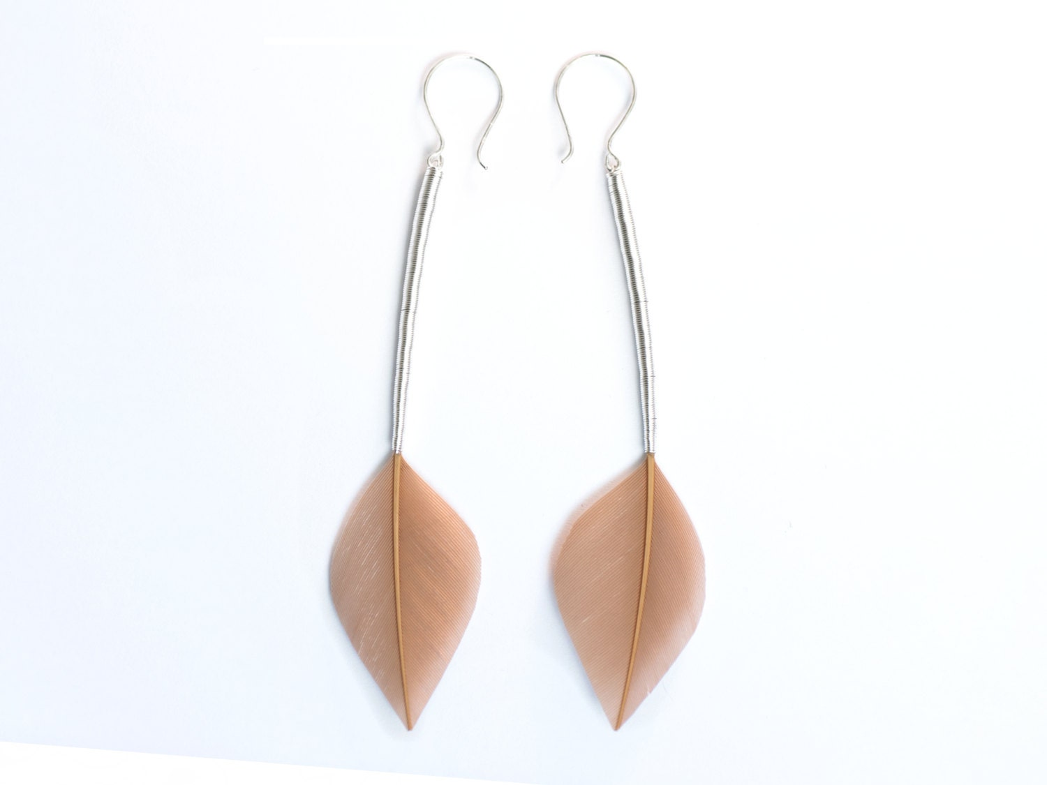 Minimalist Feather Earrings in Champagne Beige Leaf Shapes with Long Silver Stems - READY TO SHIP - Stilltreejewellery